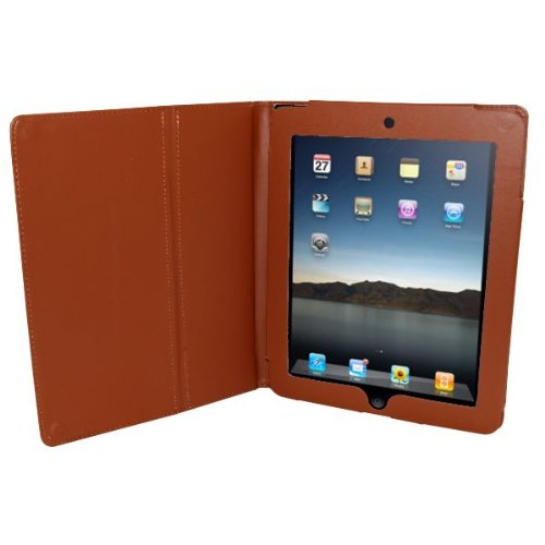 Brown Leather Style Case with Stand for Apple iPad