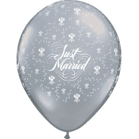 "11"" Just Married Flowers Clear - 1"