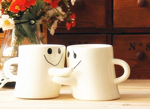 BUYNEED Novelty Lovely Cute Little White Hug Couples Coffee Tea Milk Ceramic Mug Cup Christmas Birthday Best Gift (Set of 2)