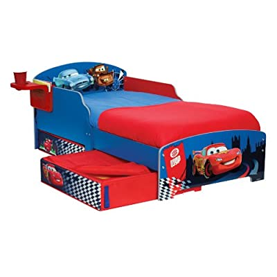Disney Cars Toddler Bed with Underbed Storage and Bedside Shelf