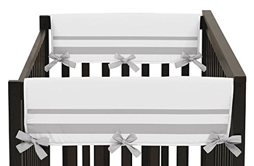 White and Gray Modern Hotel Teething Protector Cover Wrap Baby Unisex Boy or Girl Crib Side Rail Guards - Set of 2 (Bed Rail Replacement Cover compare prices)