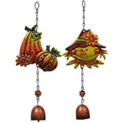 Fall Harvest Metal Bell Wind Chimes Perfect for Gardens, Porches, Patios, Gazebos, Harvest Thanksgiving Decoration...