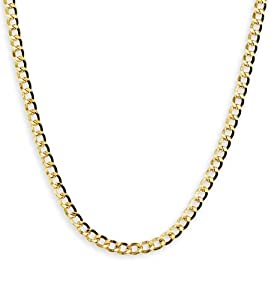 14k Light Yellow Gold Cuban Hollow Link Chain Necklace