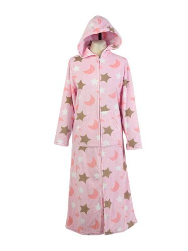Ladies Soft Fleece Zip Up Dressing Gown Womens Hooded Bathrobe Moon & Star Design Size 14/16 (Pink)