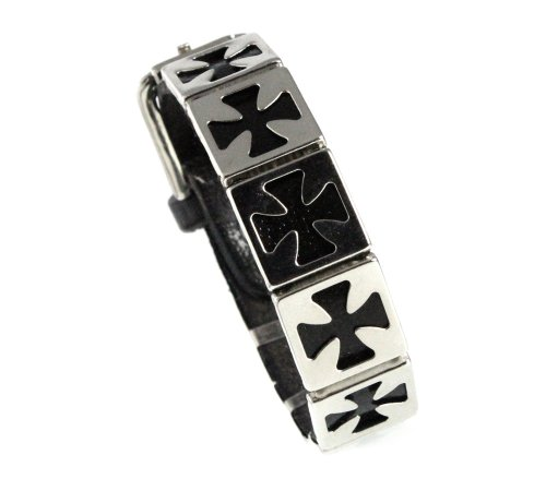 Unique Iron Cross Cutout Design Black Leather Bracelet with Buckle Fits 6.5 to 8 Inch