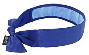 Ergodyne Chill-Its 6700CT Evaporative Cooling Bandana with Cooling Towel - Tie, Solid Blue