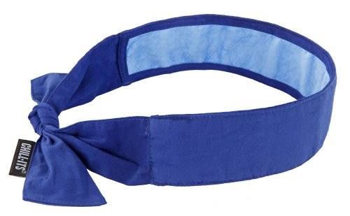 Ergodyne Chill-Its 6700CT Evaporative Cooling Bandana with Cooling Towel Material - Tie, Solid Blue