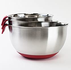 HUJI 3 Piece Stainless Steel Mixing Bowls set with Pouring Spouts & Non-Slip Silicon Base and Handles For Baking Mixing Kitchen Tools (Red )