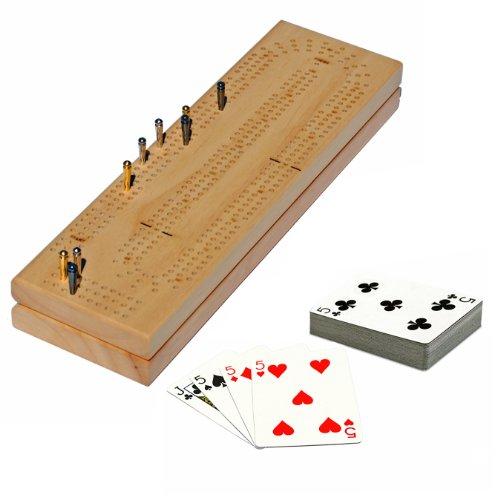 Imagen de Continuo 3 Pista de madera natural maciza Junta Cribbage con clavijas de fácil agarre, tarjetas y área de almacenamiento