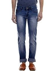 Raux Men's Light Blue Slim Fit Mid Rise Jeans