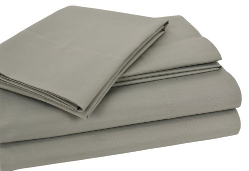 Elite Home Percale 4-Piece Cotton Queen Sheet Set, Sage front-1030713
