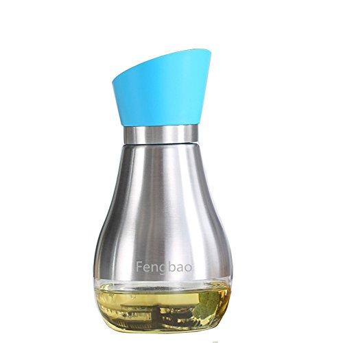 Oil and Vinegar Glass Dispenser Storage Bottles Cruet - Modern Stylish Bottles - 304 18/10 Stainless Steel (14oz) - Fengbao (Sks Bottle & Packaging compare prices)
