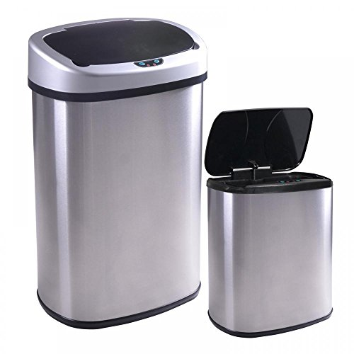 Modern Gallon Touch-Free Sensor Automatic Stainless-Steel Trash Can - P1 (Funny Trash Can compare prices)