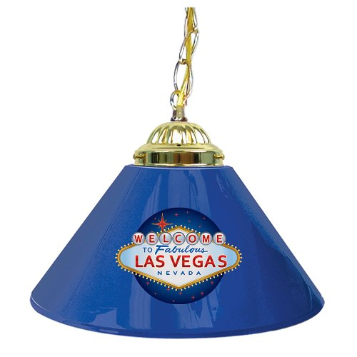 Trademark Welcome To Las Vegas 14 Inch Single Shade Bar Lamp, Blue front-1028762