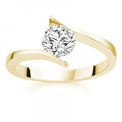 2.90 Carat D/SI1 Round Brilliant Certified Diamond Solitaire Engagement Ring in 18k Yellow Gold