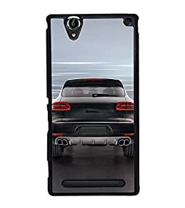 Fuson Premium 2D Back Case Cover Stylish Black car With grey Background Degined For Sony Xperia T2 Ultra::Sony Xperia T2 Ultra Dual