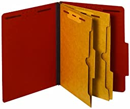 Globe-Weis/Pendaflex Colored Classification Folders, 2/5 Cut Tab, 2 Pocket Dividers, Embedded Fasteners, Letter Size, Red, 10 Folders Per Box (24079)