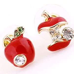 DaisyJewel Asymmetrical Once Upon a Time Snow White & the Evil Queen Red Poison Apple Stud Earrings with Gold Trim and Sparkly Green & White Diamond Like Crystal Elements - Skin-Safe & For Pierced Ears - Top Seller Mega Clearance Sale