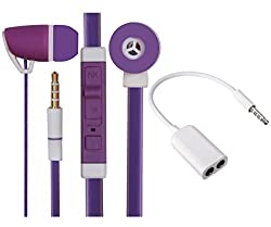 Value Combo Of Premium 3.5mm Designed In Ear Bud Headset Earphones and Stereo Jack Splitter Cable For Micromax Unite 3 Q372 -Purple