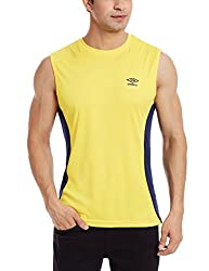 Umbro Men's Round Neck Synthetic T-Shirt (8907350168638_UPF 34_X-Large_Yellow)