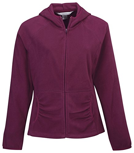 Tri-mountain Womens 100% Polyester fleece color blocking fully placket jacket, 7283 - DARK MAROON_L