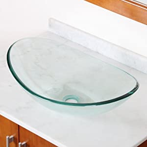 ELITE Bathroom Clear Boat Shape Glass Vessel Sink for Vanity