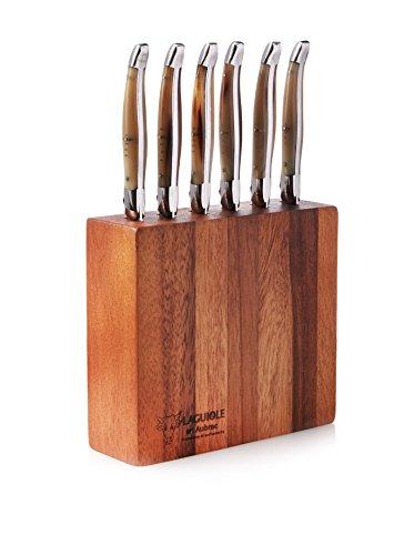 Laguiole en Aubrac Block of 6 Solid Horn Table Knives In Acacia