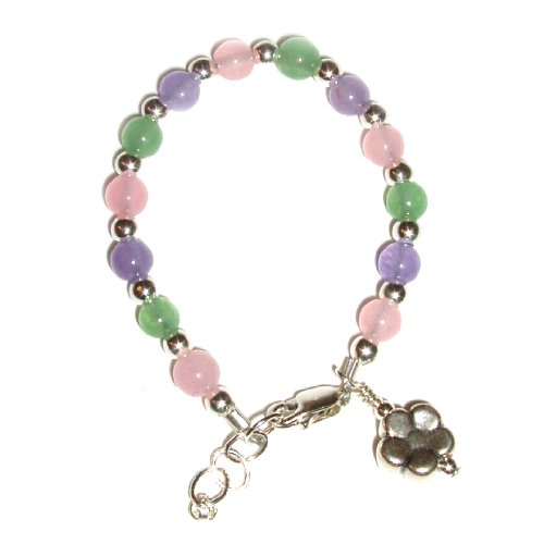 Chloe Sterling Silver Childrens Girls Bracelet Childrens natural jade stones in pink, green, and lavender w/dangling silver flower charm Size Medium 1-5 Years