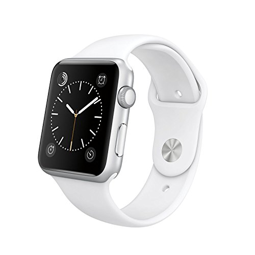 Apple 42mm Smart Watch - Silver Aluminum Case with White Sport Band (Retail Packaging)
