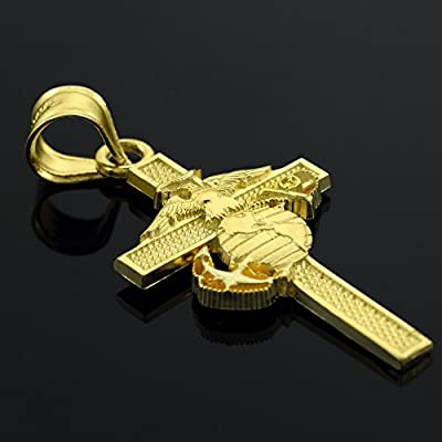 14k Gold US Marine Corps Large Military Cross Pendant Necklace