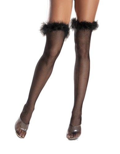 Costume Adventure Women's Fishnet Stockings With Marabou Feather Trim