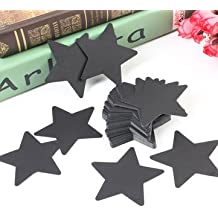 50pcs Five Star Paper Label Kraft Paper Hanging Tags Wedding Party Gift Labels- Black
