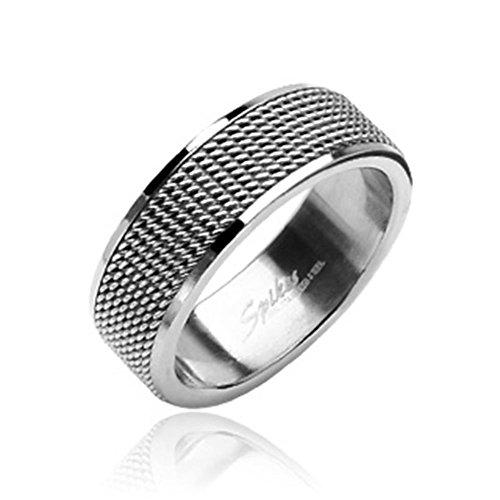 Paula & Fritz anello in rete di acciaio inossidabile 316L argento 8mm larghezza disponibile in rößen 47(15)-69(22) R8004, acciaio inossidabile, 62 (19.7), colore: silver, cod. R8004_100