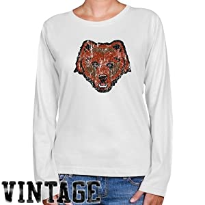 NCAA Brown Bears Ladies White Distressed Logo Vintage Long Sleeve Classic Fit Tee (Small)