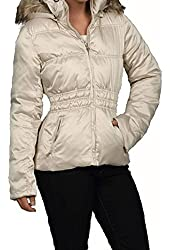 Steve Madden Women's Faux-fur Hooded Puffer Champagne, large 1134SM
