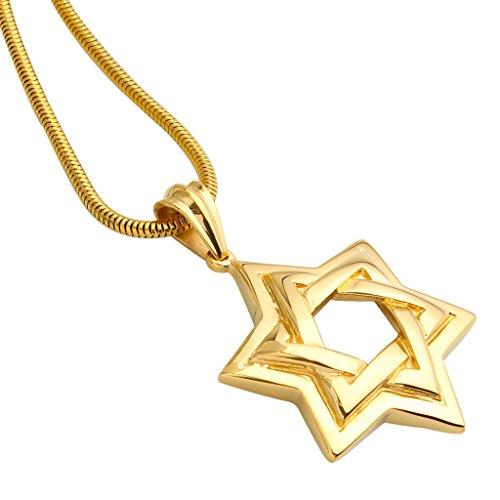 316 Stainless Steel Plate 18k Gold Mens Necklace Snake Chain Hollow Hexagram Pendant - Adisaer