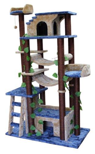 Kitty Mansions Amazon Cat Tree, Blue/Beige