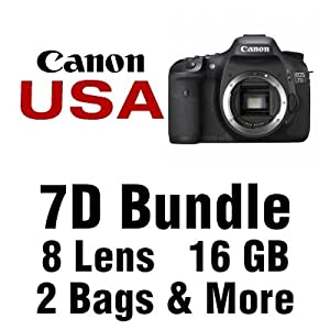 Canon EOS 7D Digital SLR Camera 4 Lens Kit with 18-55mm IS, Fisheye 0.18x, DSLR Spy Lens, 58mm 2X Telephoto, 16 GB and More