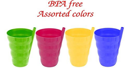 Green Direct Cup With Straw 10 Oz Plastic Cup with Built in Straw for Kids Assorted Colors (Pack of 4)