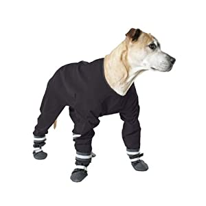 Muttluks 4-Legged Dog Jog Rain Suit, Size 14, Black