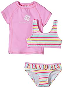 Snapper Rock  Candy Stripe UV-Protective girls 3 Piece sun set - Pink, 10 Years