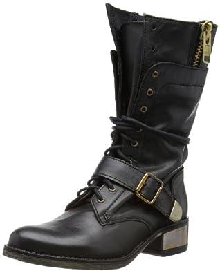 Steve Madden Womens Lollly Black Biker Boots 3 UK, 36 EU