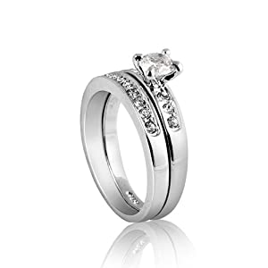 Nickel Free Silver Tone Rhodium Plated 3mm Band 5mm Cubic Zirconia Engagement Ring Size 5, 6, 7, 8, 9 R41 (7)