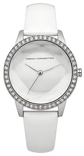 French Connection Reloj de cuarzo para mujer con blanco esfera analógica pantalla y correa de piel color blanco fc1215wa