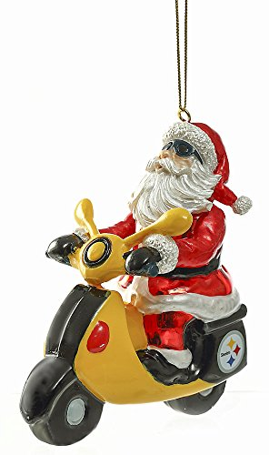 Team Sports America Glass Pittsburgh Steelers Santa Scooter Ornament at Steeler Mania