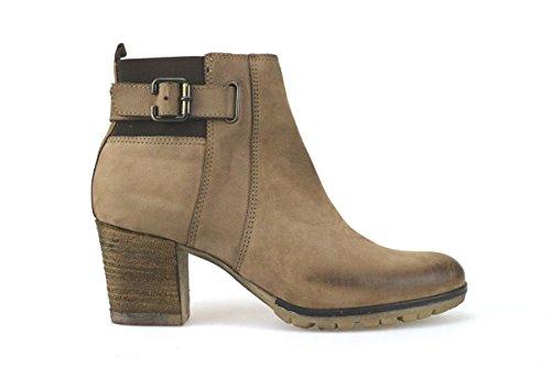 scarpe donna KEYS stivaletti tronchetti beige marrone pelle AJ143 (41 EU)