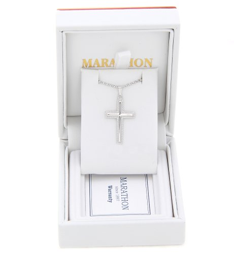 Sterling Silver Cross with Beaded Border Necklace