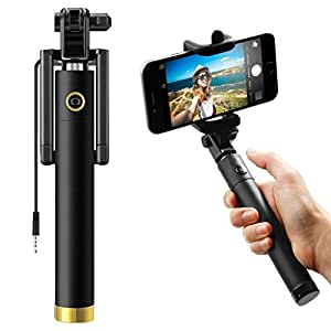 ShopMagics Compact Pocket Size Mini Foldable Monopod 270° Adjustable Original Premium & Best Quality Light Weight 3.5mm Aux Cable/Wired Selfie Stick for SONY XPERIA Z1 Selfie Stick (Color May Vary)