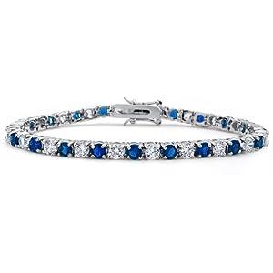 Bling Jewelry Blue Sapphire Color Silver Tone Cubic Zirconia Tennis Bracelet