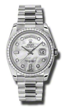 Rolex Day-Date Mother of Pearl Dial Automatic Platinum Ladies Watch 118346MDP